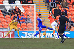 Blackpool's Gary Madine scores the opening goal - Blackpool vs. Nottingham Forest - Skybet Championship - Bloomfield Road - Blackpool - 14/02/2015 Pic Philip Oldham/Sportimage