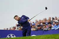Tyrrell Hatton (Team Europe) on the 7th during the friday fourballs at the Ryder Cup, Le Golf National, Iles-de-France, France. 27/09/2018.<br /> Picture Fran Caffrey / Golffile.ie<br /> <br /> All photo usage must carry mandatory copyright credit (© Golffile | Fran Caffrey)