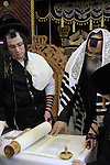 Megillah reading on Purim holiday at the Synagogue of the Premishlan congregation in Bnei Brak
