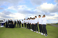 England team with their medals during the Prizegiving ceremony during Day 3 / singles of the Boys' Home Internationals played at Royal Dornoch Golf Club, Dornoch, Sutherland, Scotland. 09/08/2018<br /> Picture: Golffile | Phil Inglis<br /> <br /> All photo usage must carry mandatory copyright credit (&copy; Golffile | Phil Inglis)