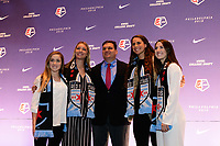 Philadelphia, PA - Thursday January 18, 2018: Brianna Visalli, Indigo Gibson, Rory Dames, Emily Boyd, Zoey Goralski during the 2018 NWSL College Draft at the Pennsylvania Convention Center.