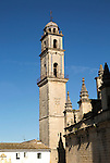 Cathedral church bell tower belfry in Jerez de la Frontera, Cadiz province, Spain against blue sky