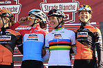 Boels Dolmans at sign on before the Strade Bianche Women Elite 2019 running 133km from Siena to Siena, held over the white gravel roads of Tuscany, Italy. 9th March 2019.<br /> Picture: Eoin Clarke | Cyclefile<br /> <br /> <br /> All photos usage must carry mandatory copyright credit (© Cyclefile | Eoin Clarke)