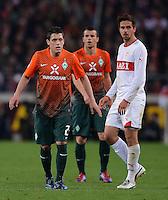 FUSSBALL  1. BUNDESLIGA  SAISON 2011/2012  31. SPIELTAG 13.04.2012 VfB Stuttgart - SV Werder Bremen Zlatko Junuzovic (li, SV Werder Bremen) und Martin Harnik (VfB Stuttgart)