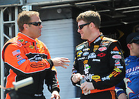 Apr 25, 2009; Talladega, AL, USA; NASCAR Nationwide Series driver Mike Wallace (left) talks with Dale Earnhardt Jr prior to the Aarons 312 at the Talladega Superspeedway. Mandatory Credit: Mark J. Rebilas-