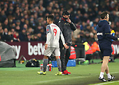 4th February 2019, London Stadium, London, England; EPL Premier League football, West Ham United versus Liverpool; Liverpool Manager Jurgen Klopp substitutes Roberto Firmino of Liverpool off during the 2nd half