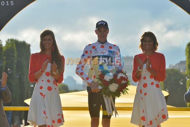 Polka Dot Jersey winner Christopher Froome (GBR) Team Sky on the podium in Paris at the end of Stage 21 of the 2015 Tour de France running 109.5km from Sevres to Paris - Champs Elysees, France. 26th July 2015.<br /> Photo: ASO/B.Bade/Newsfile