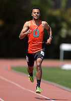 Apr 11, 2015; Los Angeles, CA, USA; Gabriel Barrett-Jackson of Occidental College places second in the 400m in 48.24 in a SCIAC multi dual meet at Occidental College. Photo by Kirby Lee