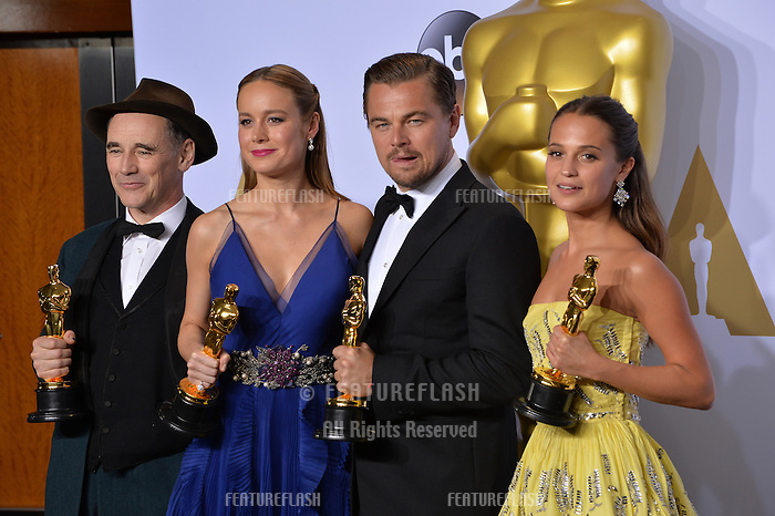 Mark Rylance, Brie Larson, Leonardo DiCaprio & Alicia Vikander at the 88th Academy Awards at the Dolby Theatre, Hollywood.<br /> February 28, 2016  Los Angeles, CA<br /> Picture: Paul Smith / Featureflash