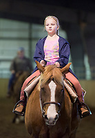 """NWA Democrat-Gazette/CHARLIE KAIJO Makenzie Lawvey, 10, of Bella Vista rides her quarter horse Tank, Sunday, March 25, 2018 at the Benton County Fairgrounds in Bentonville. <br /><br />The Benton County Fairgrounds partnered with the Northwest Arkansas Horse Show Association to provide an arena for riders to bring their horses. <br /><br />""""This is a testing the waters kind of thing. WeÕd like to do more of these open ride events, enjoy the fairgrounds and the nice arena,"""" said Susan Koehler, fair and events manager of the Benton County Fairgrounds. """"Especially like today's rainy day. This is an opportunity for them to ride.""""<br /><br />The next event is on April 14. It will include a large horse show with barrel racing, pole bending speed events and an open horse show with judged events like English, Western Pleasure and Ranch Horse events."""