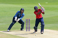 Varun Chopra in batting action for Essex as Adam Rouse looks on from behind the stumps during Kent Spitfires vs Essex Eagles, Royal London One-Day Cup Cricket at the St Lawrence Ground on 17th May 2017