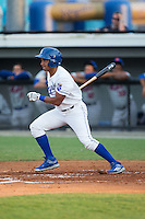 Jose Sanchez (2) of the Burlington Royals follows through on his swing against the Kingsport Mets at Burlington Athletic Stadium on July 18, 2016 in Burlington, North Carolina.  The Royals defeated the Mets 8-2.  (Brian Westerholt/Four Seam Images)