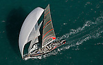 03 April 2007, Valencia, Spain ---America's Cup defender Alinghi of Switzerland races downwind during the first day of the Louis Vuitton Act 13 fleet race competition in Valencia. Photo by Victor Fraile / The Power of Sport Images/Corbis