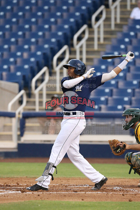Gilbert Lara (1) of the AZL Brewers bats during a game against the AZL Athletics at Maryvale Baseball Park on June 30, 2015 in Phoenix, Arizona. Brewers defeated Athletics, 4-2. (Larry Goren/Four Seam Images)