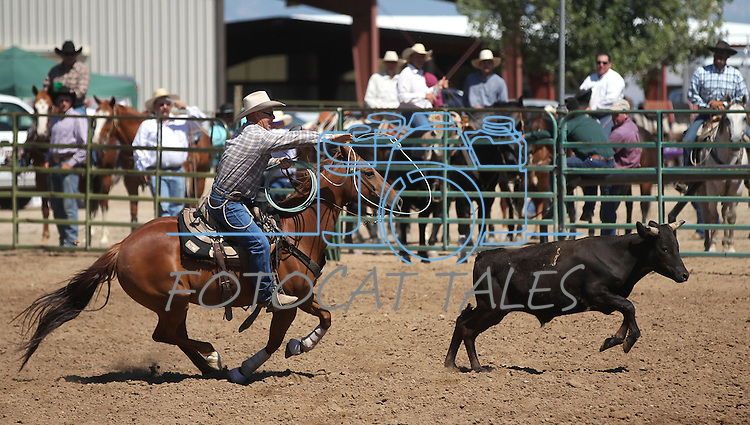 The team of Bill Finks and Mike Johns competes in the double mugging event at the Minden Ranch Rodeo on Sunday, July 24, 2011, in Gardnerville, Nev. .Photo by Cathleen Allison