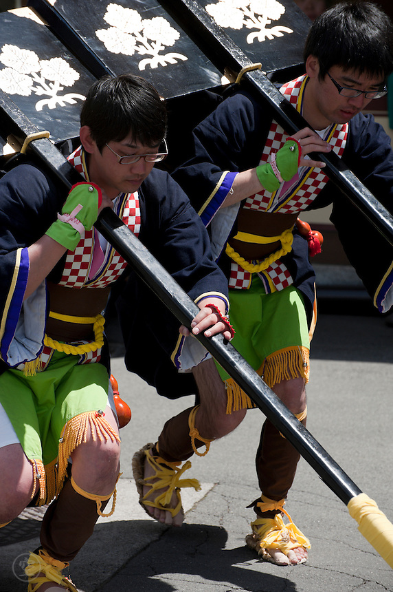 "Two Japanese men preform a traditional ""okiba"" dance inspired by a samurai procession"