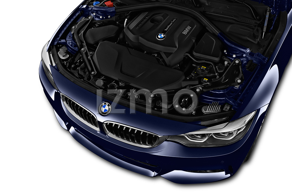 Car stock 2018 BMW 4 Series M Sport 2 Door Convertible engine high angle detail view
