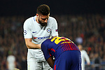UEFA Champions League 2017/2018.<br /> Round of 16 2nd leg.<br /> FC Barcelona vs Chelsea FC: 3-0.<br /> Olivier Giroud &amp; Samuel Umtiti.