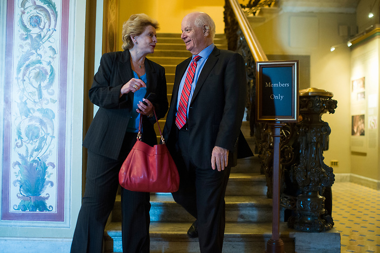 UNITED STATES - JULY 10: Sens. Ben Cardin, D-Md., and Debbie Stabenow, D-Mich., are seen after the Senate Policy luncheons in the Capitol on July 10, 2018. (Photo By Tom Williams/CQ Roll Call)