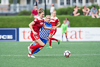 Boston, MA - Saturday July 01, 2017: Kassey Kallman and Adriana Leon during a regular season National Women's Soccer League (NWSL) match between the Boston Breakers and the Washington Spirit at Jordan Field.