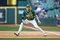 Baylor Bears first baseman Chase Wehsener (37) on defense against the LSU Tigers in game five of the 2020 Shriners Hospitals for Children College Classic at Minute Maid Park on February 28, 2020 in Houston, Texas. The Bears defeated the Tigers 6-4. (Brian Westerholt/Four Seam Images)