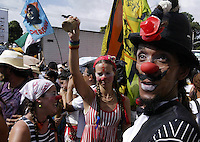 People protest  in Belem, in Para, in the heart of the Brazilian Amazon, on January 27, 2009, on the first day of the World Social Forum, an international gathering meant to be a counterweight to the World Economic Forum in Davos, Switzerland. The forum will parallel the Davos meeting, which each year brings together some of the wealthiest and most powerful individuals on the planet to discuss economic and financial issues.