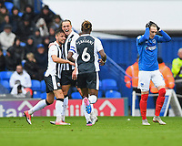 Tom Eaves of Gillingham celebrates his goal with Luke O'Neill of Gillingham and Gabriel Zakuani of Gillingham as Ronan Curtis of Portsmouth right looks dejectedduring Portsmouth vs Gillingham, Sky Bet EFL League 1 Football at Fratton Park on 6th October 2018