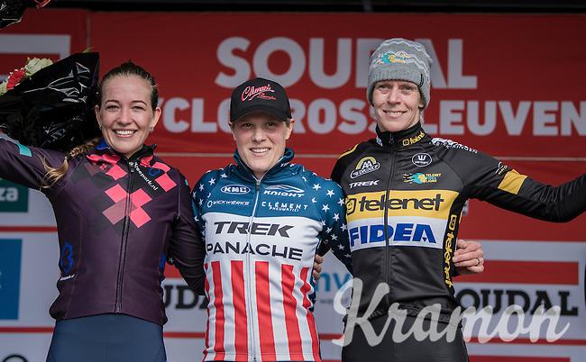 Women's Podium:<br /> 1/ Katie Kompton (USA)<br /> 2/ Sophie de Boer (NED)<br /> 3/ Ellen Van Loy (BEL/Telenet-Fidea)<br /> <br /> women's race<br /> CX Soudal Classics Leuven/Belgium 2017