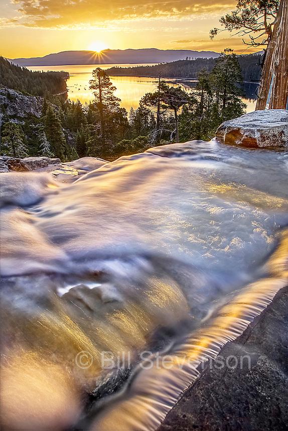 An image of sunrise at Eagle Falls near Lake Tahoe in Claifornia
