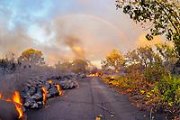 Sunrise rainbow, Lava flow on highway 137, Near Hawaii, USA Volcanoes National Park, Kalapana, Hawaii, USA, The Big Island of Hawaii, USA