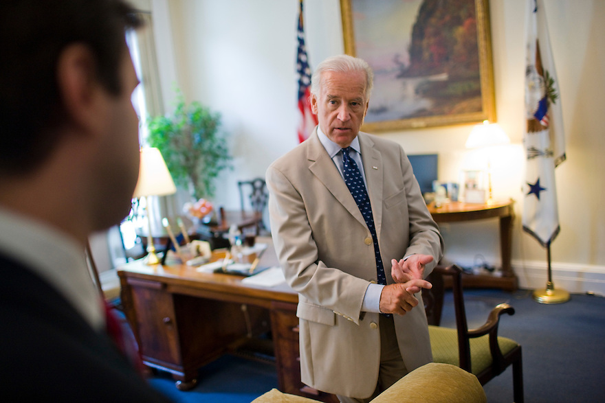 Vice President Joe Biden in his West Wing office at the White House in Washington...Photo by Brooks Kraft/Corbis............