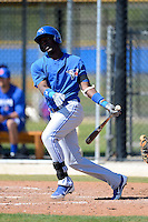Toronto Blue Jays infielder Gustavo Pierre #55 during a minor league spring training game against the Pittsburgh Pirates at Englebert Minor League Complex on March 16, 2013 in Dunedin, Florida.  (Mike Janes/Four Seam Images)
