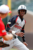 Outfielder Lewis Brinson #18 during the Under Armour All-American Game at Wrigley Field on August 13, 2011 in Chicago, Illinois.  (Mike Janes/Four Seam Images)