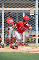 GCL Phillies center fielder Kevin Markham (5) reaches on an error during a game against the GCL Tigers East on July 25, 2017 at TigerTown in Lakeland, Florida.  GCL Phillies defeated the GCL Tigers East 4-1.  (Mike Janes/Four Seam Images)