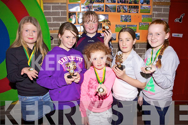 Winners: Community Games winners at the Duagh/Lyrecrompane awards night last Friday in Duagh. .l-r Kayla Rafferty, Julieanne McCarthy, Tamara Stack, Katelynn Flynn, Shaunagh Dwyer and Jessica Heffernan