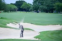 Adam Hadwin (CAN) hits from the trap on 13 during round 3 of the Valero Texas Open, AT&amp;T Oaks Course, TPC San Antonio, San Antonio, Texas, USA. 4/22/2017.<br /> Picture: Golffile | Ken Murray<br /> <br /> <br /> All photo usage must carry mandatory copyright credit (&copy; Golffile | Ken Murray)