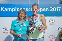 Etten-Leur, The Netherlands, August 27, 2017,  TC Etten, NVK, Winner womans 55+ , Carole de Bruin (R) and runner up Mieke Smits<br /> Photo: Tennisimages/Henk Koster