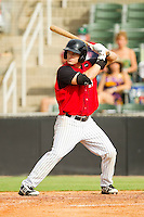 Adam Heisler (35) of the Kannapolis Intimidators at bat against the Rome Braves at CMC-Northeast Stadium on August 5, 2012 in Kannapolis, North Carolina.  The Intimidators defeated the Braves 9-1.  (Brian Westerholt/Four Seam Images)