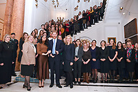 07/01/2020 - Prince Harry Duke of Sussex and Meghan Duchess of Sussex Markle with the High Commissioner for Canada in the United Kingdom, Janice Charette and the deputy High Commissioner, Sarah Fountain Smith pose for a photograph with High Commission staff during a visit to Canada House, in London, in thanks for the warm Canadian hospitality and support they received during their recent stay in Canada. Photo Credit: ALPR/AdMedia