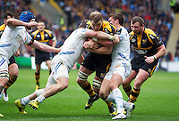 Joe Launchbury of Wasps takes on the Exeter Chiefs defence. European Rugby Champions Cup quarter final, between Wasps and Exeter Chiefs on April 9, 2016 at the Ricoh Arena in Coventry, England. Photo by: Patrick Khachfe / JMP