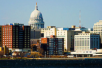 Various views of downtown Madison including the capital building and dome. Angry response by the regular people of Wisconsin to Governor Scott Walker's union busting and austerity policies.