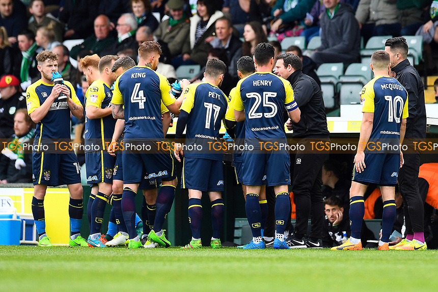 Stevenage Manager Darren Sarll has words with his team during a water break during Yeovil Town vs Stevenage, Sky Bet EFL League 2 Football at Huish Park on 29th April 2017