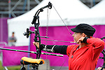 LONDON, ENGLAND /08/2012 - Karen Van Nest competing in the Women's Individual Compound Ranking Round at the London 2012 Paralympic Games at the Royal Artillery Barracks. (Photo: Phillip MacCallum/Canadian Paralympic Committee)