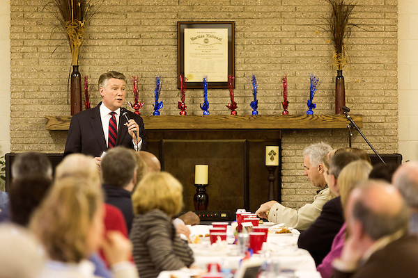 April 6, 2014. Durham, North Carolina.<br />   Mark Harris, seen here addressing the crowd, is one of eight Republican candidates running for Democrat Kay Hagan's Senate seat.<br /> As the the primary scheduled for May 6th grows near, several of the the eight Republican candidates running for the US Senate seat of incumbent Democrat Kay Hagan have increased their public visibility, appearing at events such as the Durham County Lincoln Douglas Lunch, where each candidate was given a few minutes to address the gathered Republican friendly crowd.