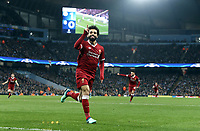 Liverpool's Mohamed Salah celebrates scoring his side's equalising goal to make the score 1 - 1<br /> <br /> Photographer Rich Linley/CameraSport<br /> <br /> UEFA Champions League Quarter-Final Second Leg - Manchester City v Liverpool - Tuesday 10th April 2018 - The Etihad - Manchester<br />  <br /> World Copyright &copy; 2017 CameraSport. All rights reserved. 43 Linden Ave. Countesthorpe. Leicester. England. LE8 5PG - Tel: +44 (0) 116 277 4147 - admin@camerasport.com - www.camerasport.com