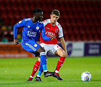 Leicester City U21s' Lamine Kaba Sherif shields the ball from Fleetwood Town's Harrison Biggins<br /> <br /> Photographer Alex Dodd/CameraSport<br /> <br /> The EFL Checkatrade Trophy - Northern Group B - Fleetwood Town v Leicester City U21 - Tuesday September 11th 2018 - Highbury Stadium - Fleetwood<br />  <br /> World Copyright &copy; 2018 CameraSport. All rights reserved. 43 Linden Ave. Countesthorpe. Leicester. England. LE8 5PG - Tel: +44 (0) 116 277 4147 - admin@camerasport.com - www.camerasport.com