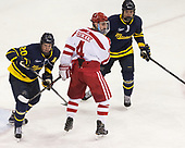 Hampus Gustafsson (Merrimack - 20), Brandon Hickey (BU - 4), Sami Tavernier (Merrimack - 25) - The visiting Merrimack College Warriors defeated the Boston University Terriers 4-1 to complete a regular season sweep on Friday, January 27, 2017, at Agganis Arena in Boston, Massachusetts.The visiting Merrimack College Warriors defeated the Boston University Terriers 4-1 to complete a regular season sweep on Friday, January 27, 2017, at Agganis Arena in Boston, Massachusetts.