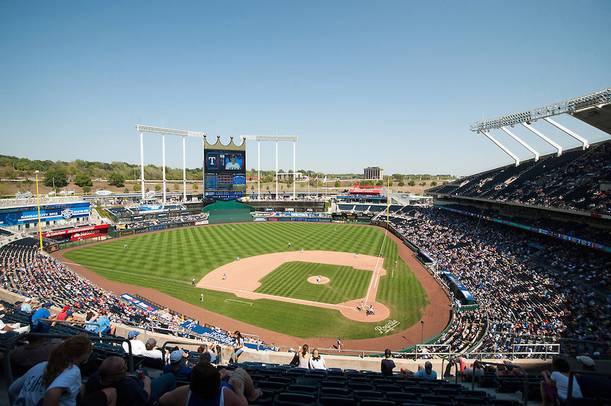 3 SEPTEMBER 2012: An overhead general view of Kauffman Stadium during a day game during a regular season Major League Baseball game between the Texas Rangers and the Kansas City Royals at Kauffman Stadium on September 3, 2012 in Kansas City, Missouri. The Rangers beat the Royals 8-4.