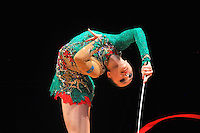 Anna Alyabyeva of Kazakhstan performs with ribbon during event finals at World Cup Montreal on January 30, 2011.  (Photo by Tom Theobald).