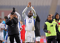 Felipe Baloy of Panama (C) applauds away supporters during the international friendly soccer match between Wales and Panama at Cardiff City Stadium, Cardiff, Wales, UK. Tuesday 14 November 2017.